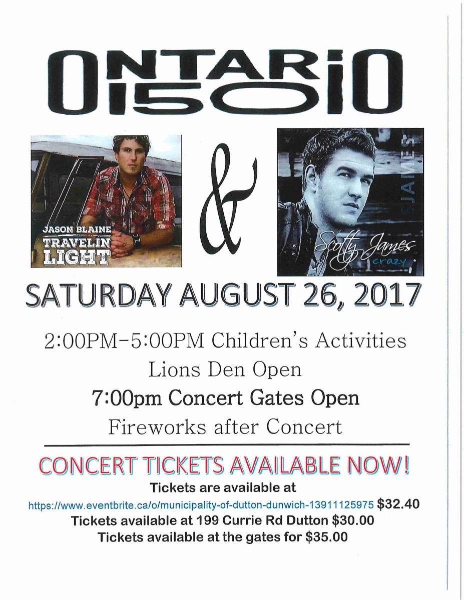 Image result for Jason Blaine at the Celebrating Ontario 150 Concert in Dutton-Dunwich